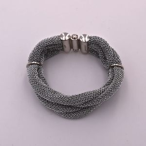 A&M Silver Mesh Twisted Bracelet w/Ring Clasps